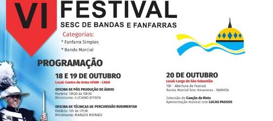 Manaus recebe 6º Festival Sesc de Bandas e Fanfarras